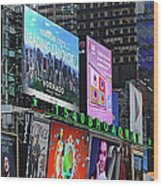 Times Square - Looking South Wood Print