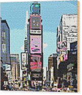 Times Square Nyc Cartoon-style Wood Print