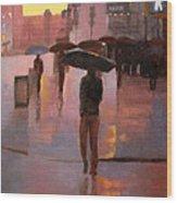 Times Square rain Wood Print