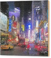 Times Square Street Level Wood Print by Bud Anderson