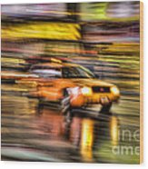 Times Square Taxi I Wood Print
