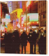Times Square - The Lights Of New York Wood Print