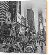 Times Square With Fog Wood Print