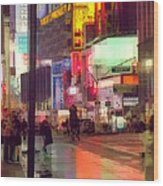 Times Square With Runaway Horse Wood Print