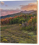 Timp Fall Glow Wood Print by Chad Dutson