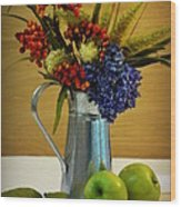 Tin Bouquet And Green Apples Wood Print