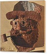Tin Man With Pipe Wood Print