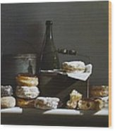 Tins And Donuts Wood Print by Larry Preston