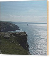 Man On The Edge Tintagel Wood Print