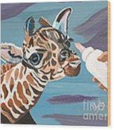Tiny Baby Giraffe With Bottle Wood Print