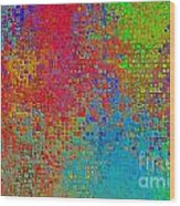 Tiny Blocks Digital Abstract - Bold Colors Wood Print