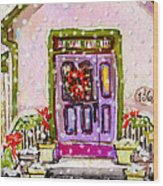Tiny Purple Church In The Woods Wood Print
