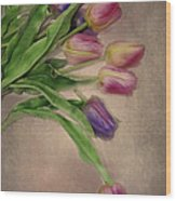 Tip Toe Thru The Tulips Wood Print by Mary Timman