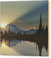 Tipsoo Rainier Sunstar Wood Print
