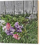 Tipsy Flowers Wood Print