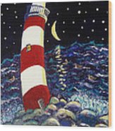 Tipsy Lighthouse With White Cat Wood Print
