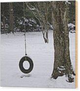 Tire Swing In Winter Wood Print