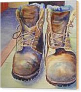 Tired Boots Wood Print