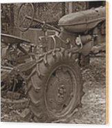 Tired Tractor...... Sepia Wood Print