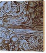 Titan In Desert Wood Print