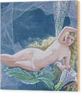 Titania Lying On A Leaf  Wood Print