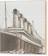 Titanic Drawing Wood Print
