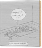 Title: Dog Insomnia. A Dog At Night Thinking Wood Print