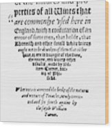Title Page Wine Book, 1568 Wood Print