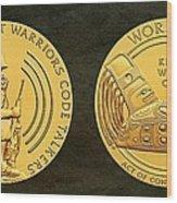 Tlingit Tribe Code Talkers Bronze Medal Art Wood Print
