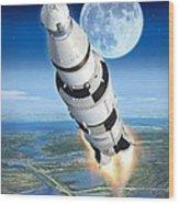 To The Moon Apollo 11 Wood Print by Stu Shepherd