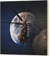 To The Moon Wood Print