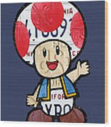 Toad From Mario Brothers Nintendo Original Vintage Recycled License Plate Art Portrait Wood Print