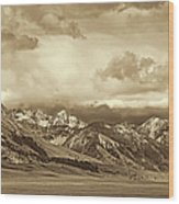 Tobacco Root Mountain Range Montana Sepia Wood Print by Jennie Marie Schell