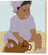 Toddler And Teddy Wood Print