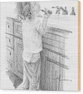 Toddler Brushing Teeth Pencil Portrait  Wood Print