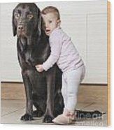 Toddler With Dog Wood Print by Justin Paget