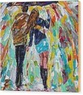 Together In The Rain  Wood Print