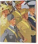 Together Propaganda Poster Wood Print by Anonymous