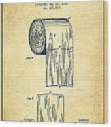 Toilet Paper Roll Patent Drawing From 1891 - Vintage Wood Print