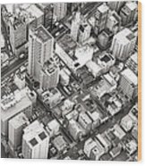 Tokyo City Black And White Wood Print