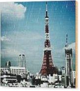 Tokyo Eiffel  Wood Print by Natalya Karavay