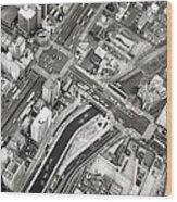 Tokyo Intersection Black And White Wood Print