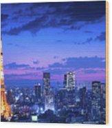 Tokyo Night View Wood Print
