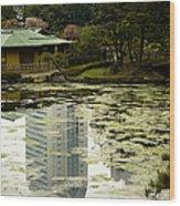 Tokyo Reflection Wood Print