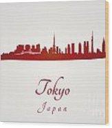 Tokyo Skyline In Red Wood Print