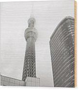 Tokyo Skytree In Clouds Wood Print