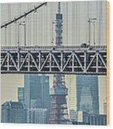 Tokyo Tower And Rainbow Bridge Wood Print