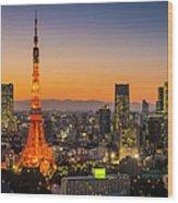 Tokyo Tower Skyscrapers Neon Futuristic Wood Print