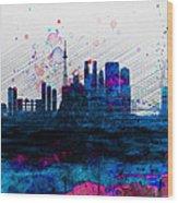 Tokyo Watercolor Skyline 2 Wood Print