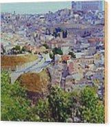 Toledo Spain In Blue Wood Print